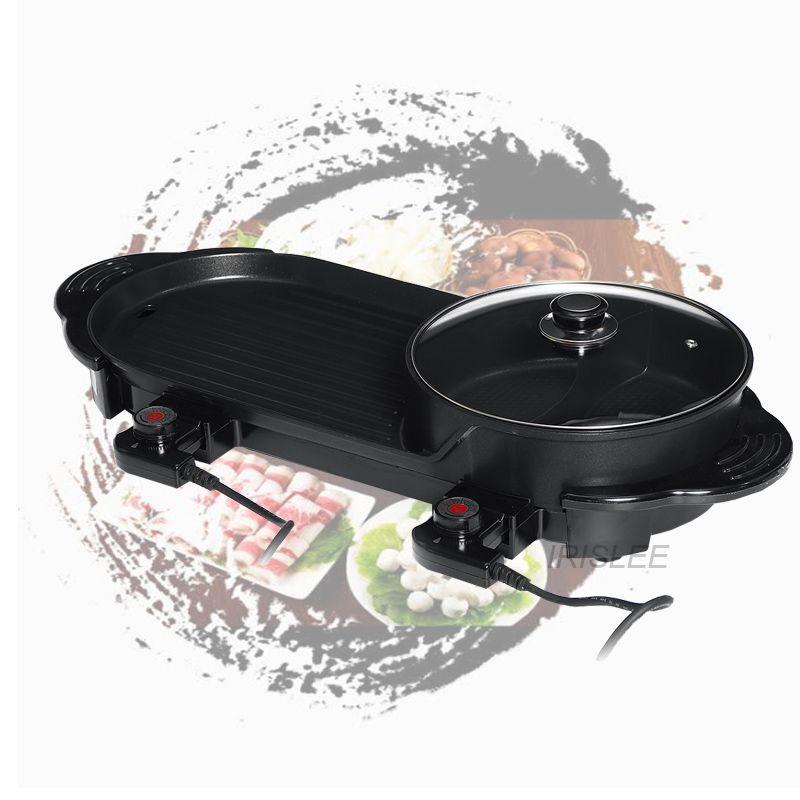 2 2200W in 1 Elektro Hot Pot Ofen Multi Cooker Grill Pan Smokeless Barbecue Grill Non-Stick Shabu Pot Hotpot Backblech