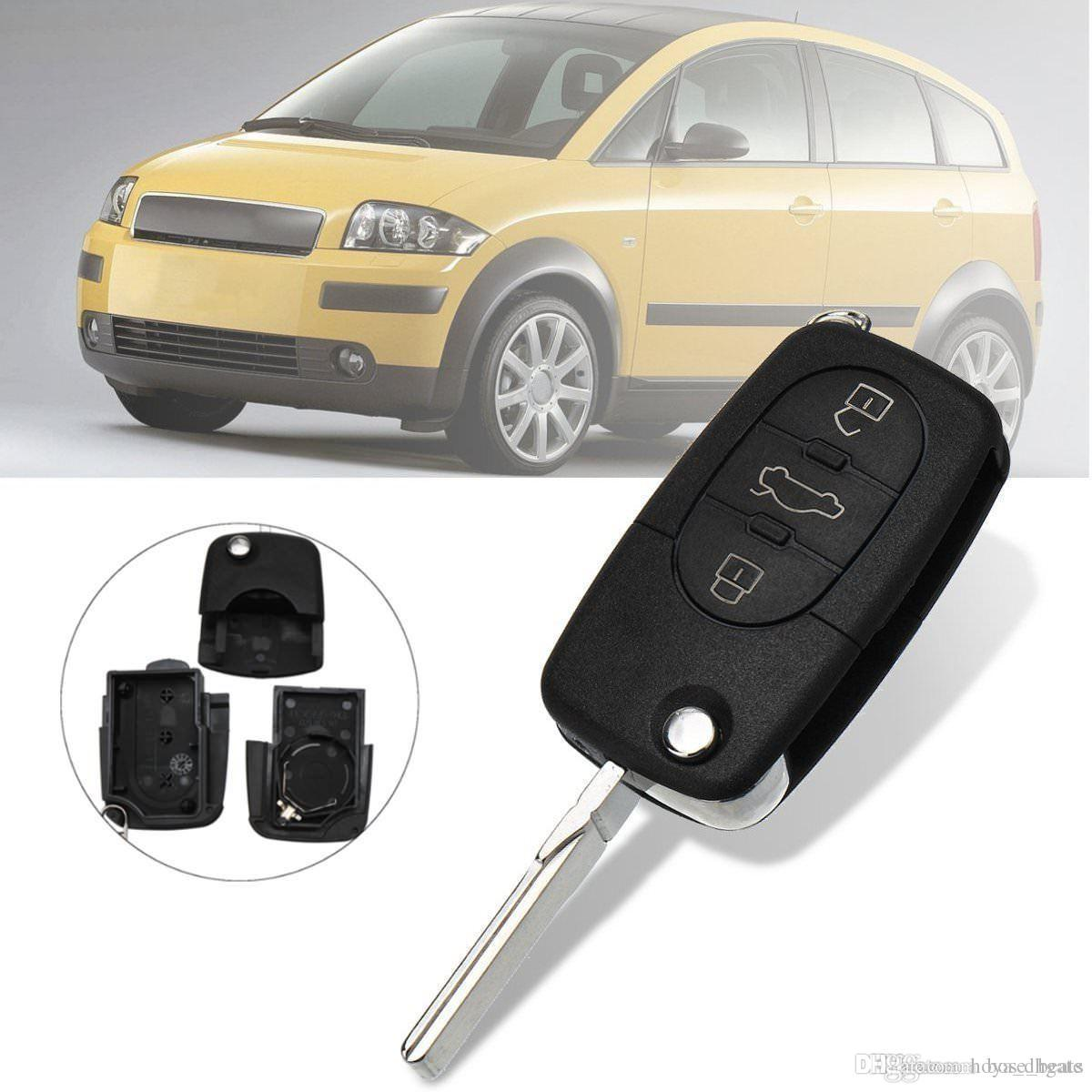 Folding Remote Key Fob Case Shell 3 Buttons Uncut Blade Fit For Audi A4 A6 A8 TT