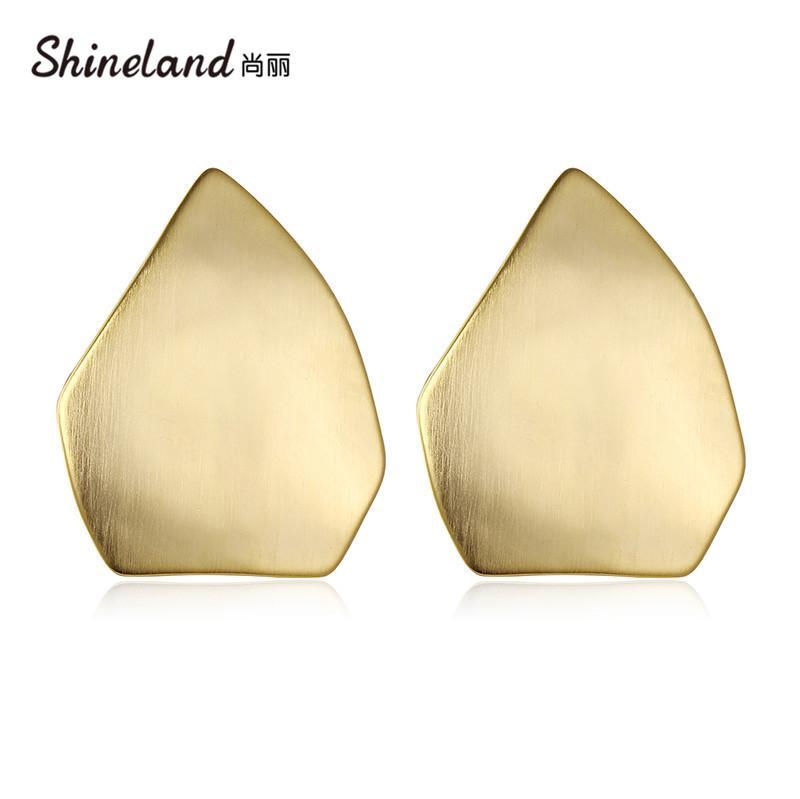 Shineland nuovo modo speciale Liscio metallo geometrica Orecchini Charm Trendy lucida Dichiarazione Punk Brincos per i monili delle donne