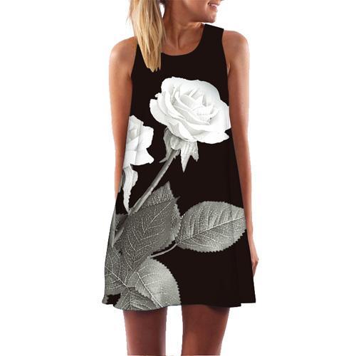 BNC 여성 드레스 로즈 프린트 민소매 여름 드레스 O 넥 캐주얼 루즈 미니 시폰 드레스 Vestidos New Arrival