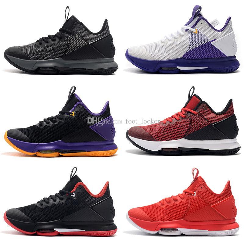 2020 أحذية جديدة جيمس الشاهد الرابع 4 لوس انجليس ليكرز أسود أرجواني أصفر كرة السلة للرجال صافي السطح للتنفس ليبرون الرياضة حذاء رياضة مدرب