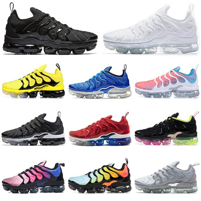 Barato TN Plus BUMBLEBEE zapatillas de correr para mujeres de los hombres de triple blanco negro de la lava resplandor rojo entrenadores hombre del diseñador de calzado deportivo zapatillas de deporte de tamaño 36-45