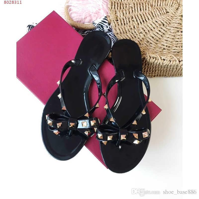 2019 fashion women slippers leather flip flops Rivet jelly glue material temperament supplier original customization With Dust Bag