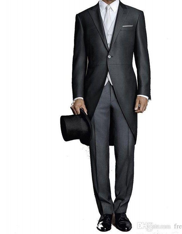 Пользовательский черный фрак Мужчины костюм Свадебного сшитый Грум Tuxedo Формальные мужчина Blazer Slim Fit Groomsmen Жених Костюм 3 шт (куртка + штаны