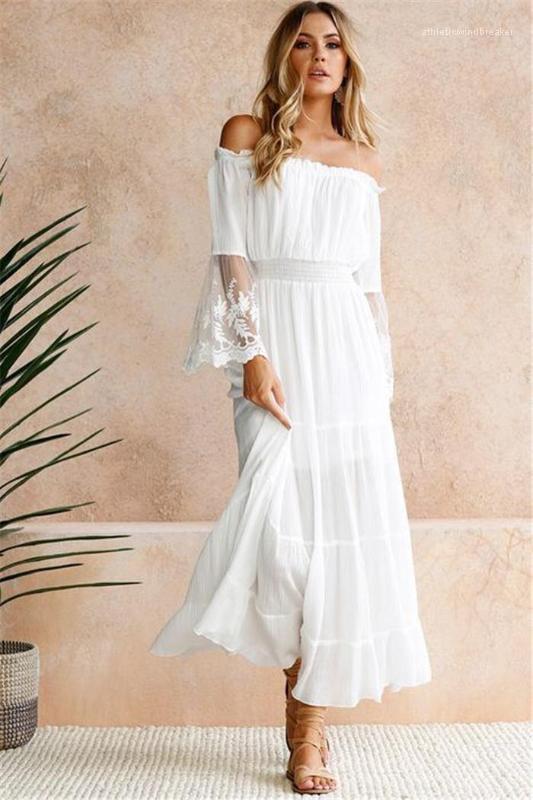 Recortar cuello Señora vestido maxi verano de las mujeres de la llamarada de la manga elástico de la cintura vestidos largos con paneles de encaje Solid