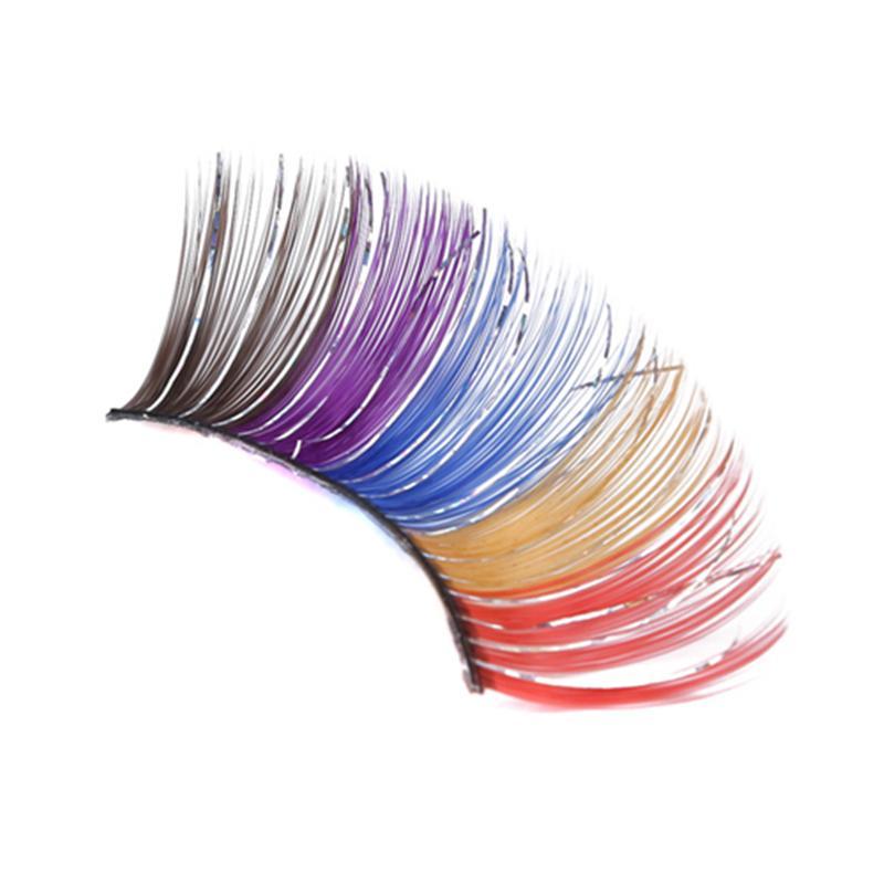 1Pair esagerazione Fase Ciglia finte piume colorate trucco di scintillio degli occhi del partito delle donne Lash Make Up Maquiagem