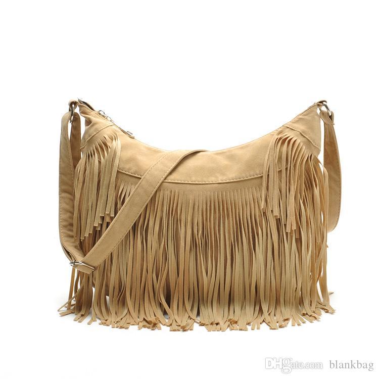 haut sac à bandoulière solide simple casual de qualité Suede Fringe femmes Tassel Messenger de cuir Sac à bandoulière