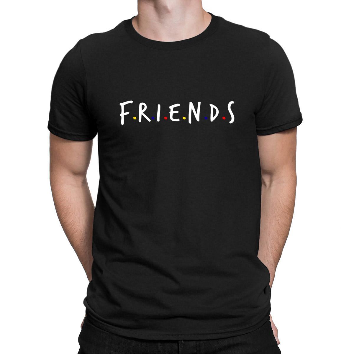 Mostrar Freinds camiseta 2018 Lema loco O cuello de la camiseta para los hombres Crear divertidos Casual Letter Anlarach ropa
