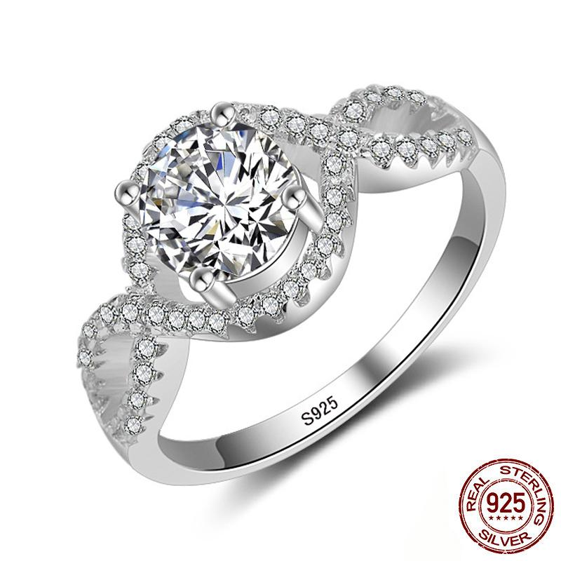 2020 New Luxury Round Diamond Solid 925 Sterling Silver Engagement Ring for Women Lady Anniversary Gift Fine Jewelry XR064