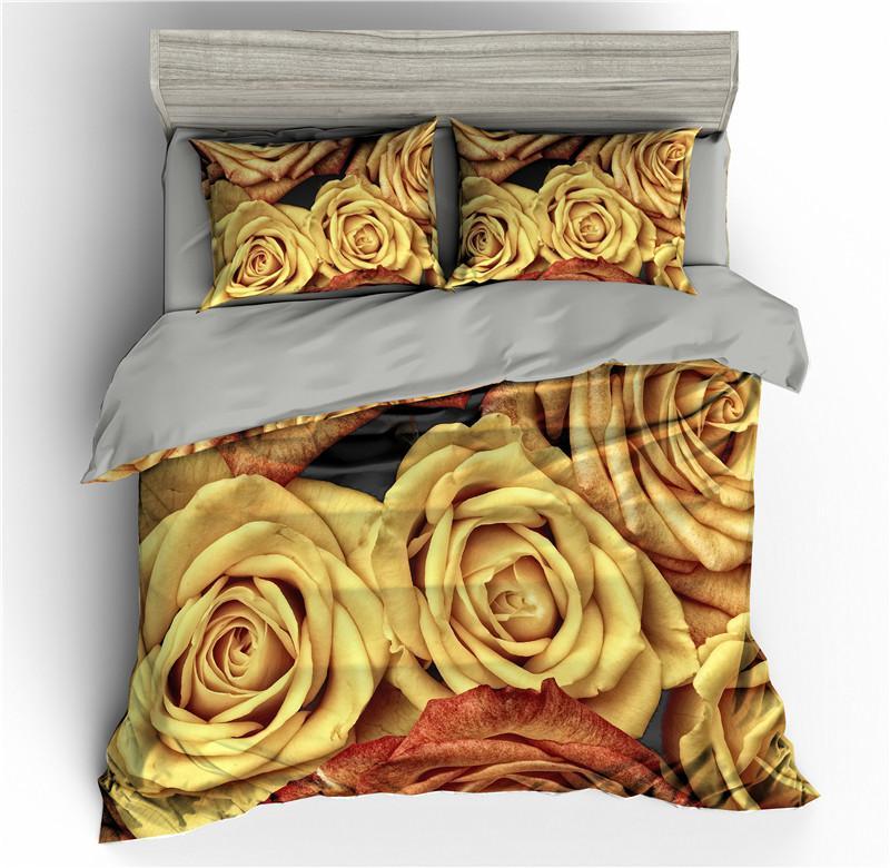 Rose Fleurs Floral Literie 3D Sets housse de couette Reine Quilt King Size Consolateur Cover Set Size Linge de lit pleine