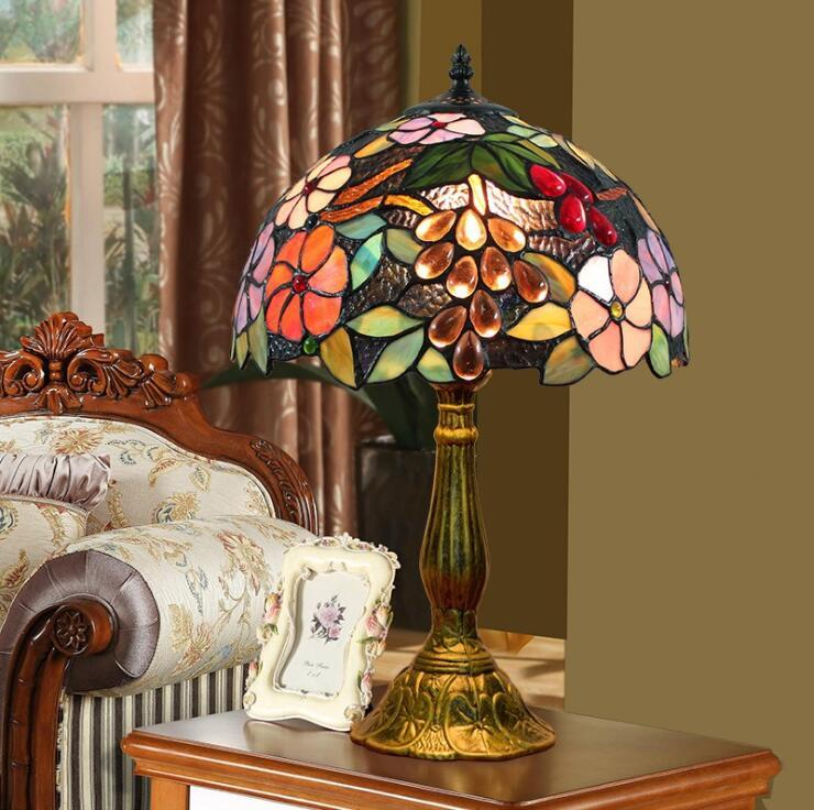 U S Inventory European Style Stained Glass Table Lamp Classic rose retro childrens living room bedroom bedside table lamp fairy lamps Free