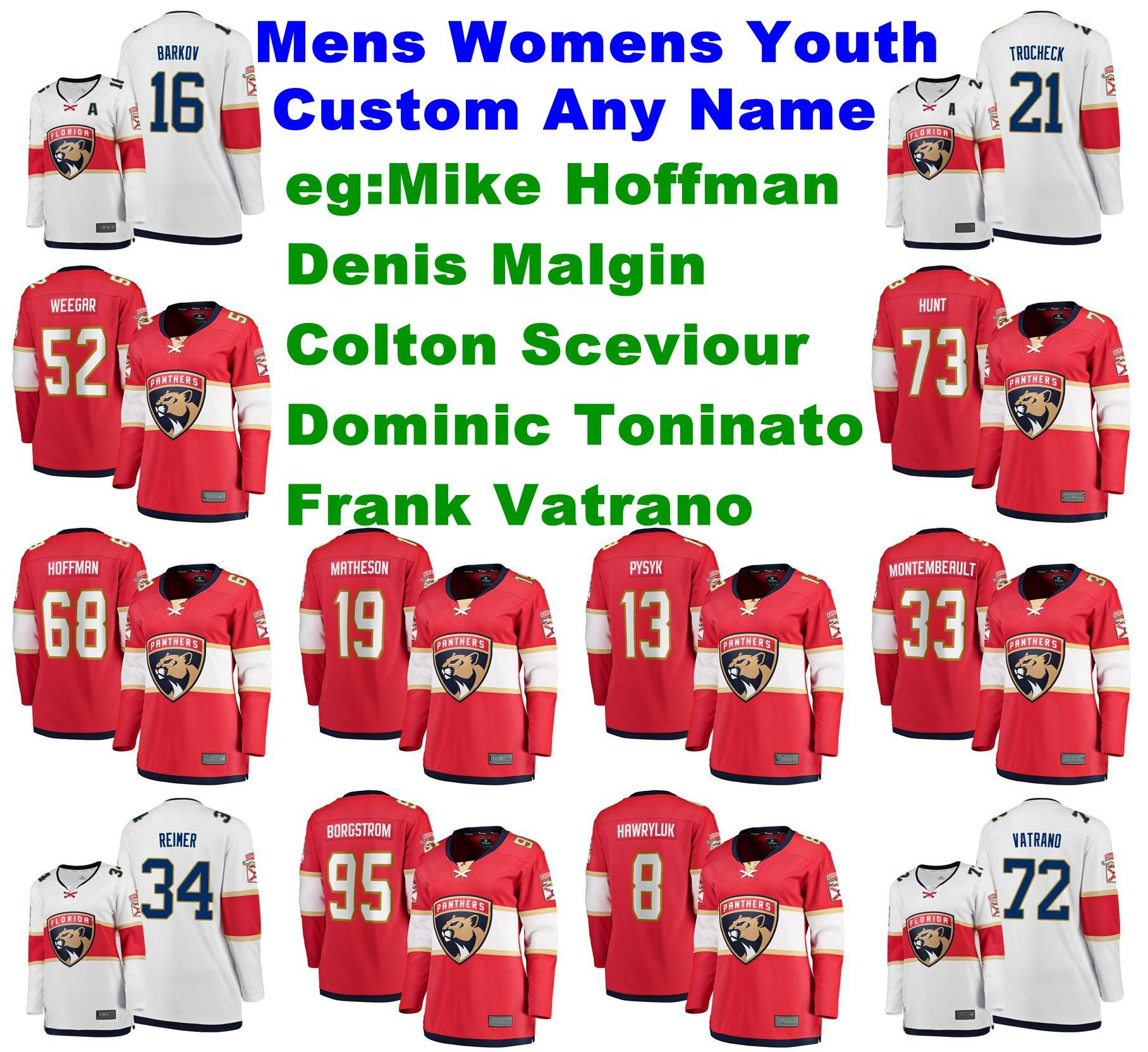 Florida Panthers Formalar Mike Hoffman Jersey Frank Vatrano Toninato Colton Sceviour Malgin Buz Hokeyi Formalar Kadın özelleştirme Dikişli Tam