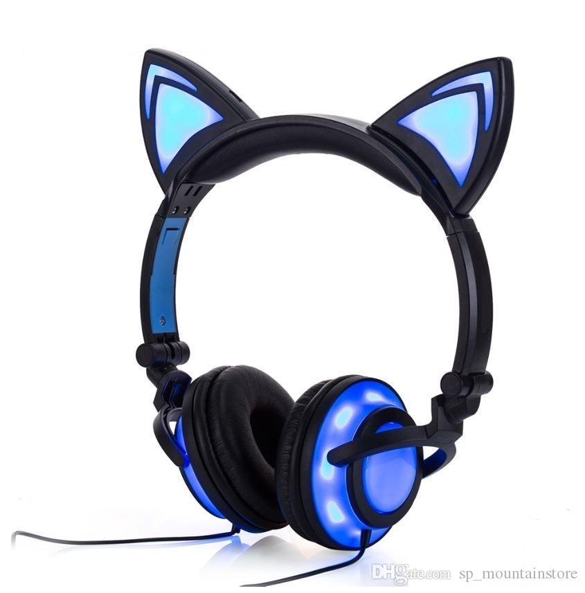 Hot Cat Ear headphones LED Ear headphone cat earphone Flashing Glowing Headset Gaming Earphones for Adult and Children (Retail)