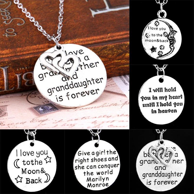 """Exquisite Anhänger Halskette Muttertagsgeschenke Großmutter """"Ich liebe dich bis zum Mond und zurück"""" Briefe Kettenhalsketten"""