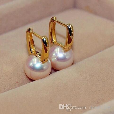 HUGE10-11mm natural do Mar del Sur de oriente branco pendientes de perlas 14 k