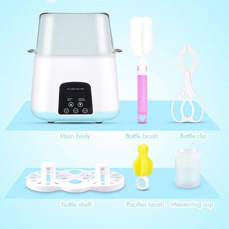 Chauffe-biberon, bouteille vapeur Stérilisateur 5-en-1 Smart Thermostat double Biberon Chauffe-lait pour l'alimentation maternel ou maternisé