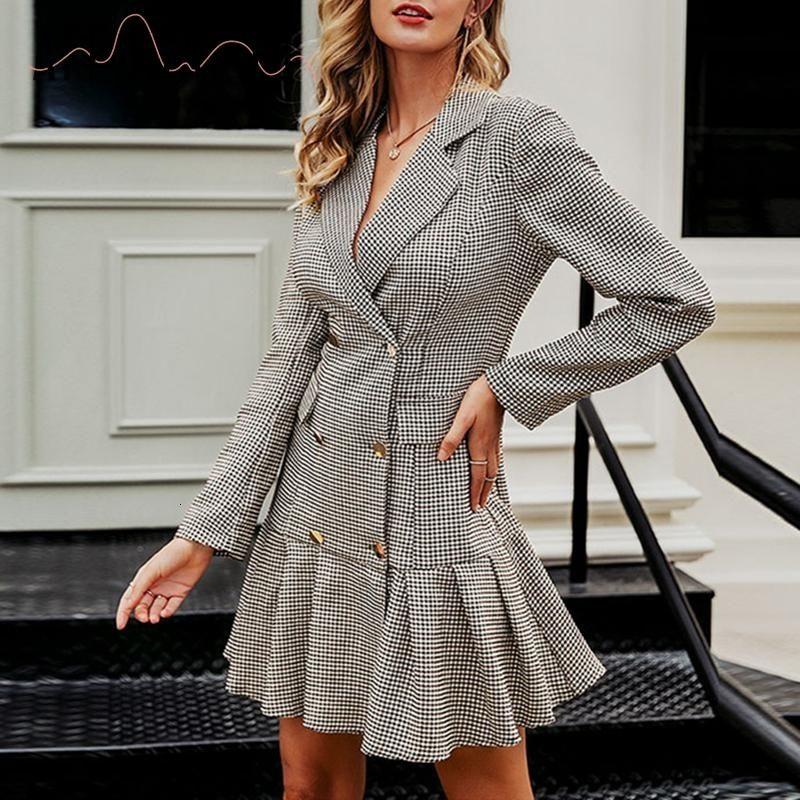 Affogatoo elegante cuello en V señoras de la oficina de la colmena del otoño de la tela escocesa de las mujeres del vestido corto doble de la vendimia breasted CJ191130 vestido de chaqueta parte plisada