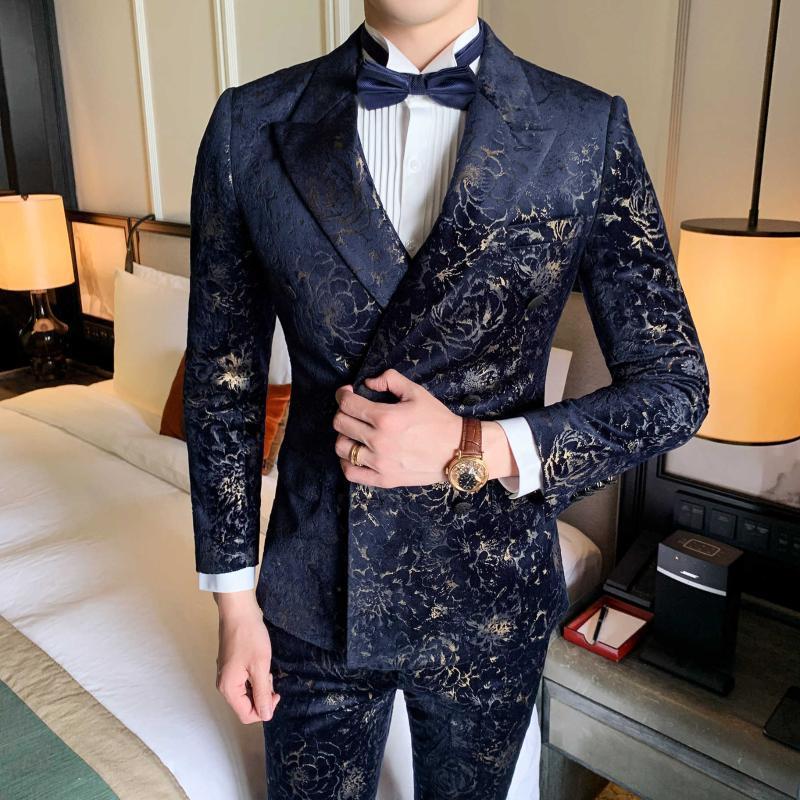 Men's Suits & Blazers Gentleman Mas Suit Printing Velvet Dinner Full Dress Men Business Social Wedding Smoking Mariage Homme Stylish Prom Ja