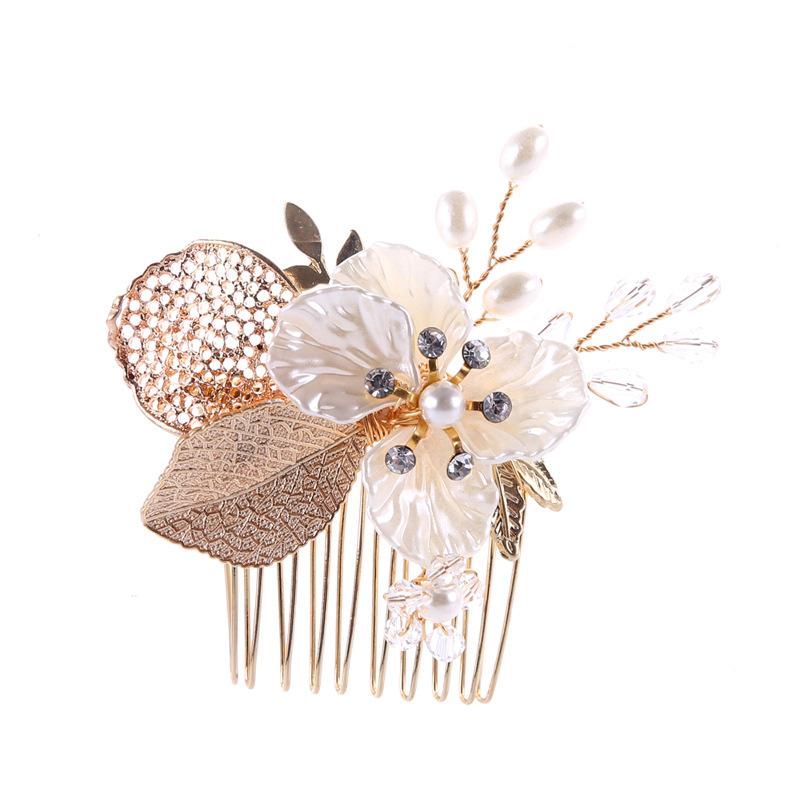 Bride Flower Hair Comb Wedding Hair Ornaments Pearl Small Combs Gold Hairpins Prom Jewelry Women Combs