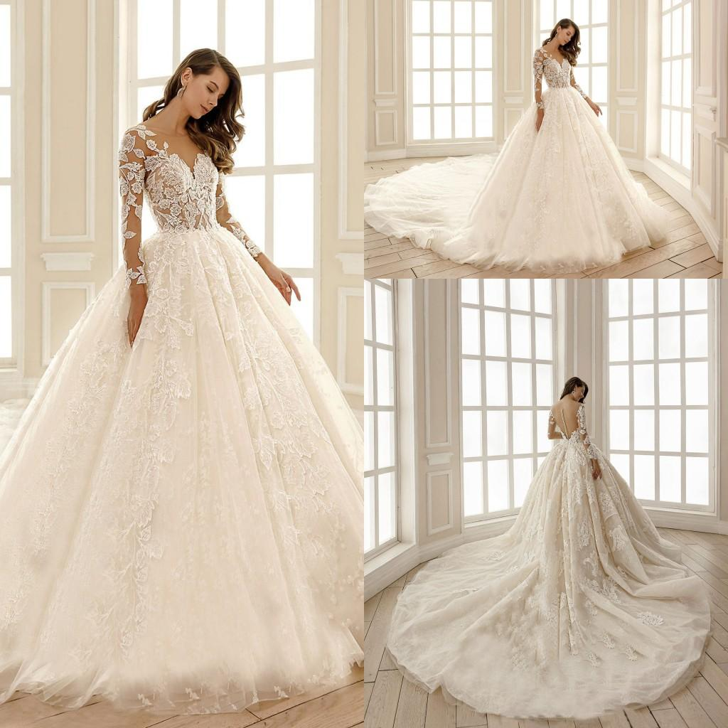 2020 Ball Gown Wedding Dresses Jewel Long Sleeves Lace Appliques Castle Bridal Gowns Custom Made Button Back Sweep Train Wedding Dress Wedding Dresses With Color White Ball Gowns From Newdeve 139 14 Dhgate Com,Dress To Wear To A Wedding In November
