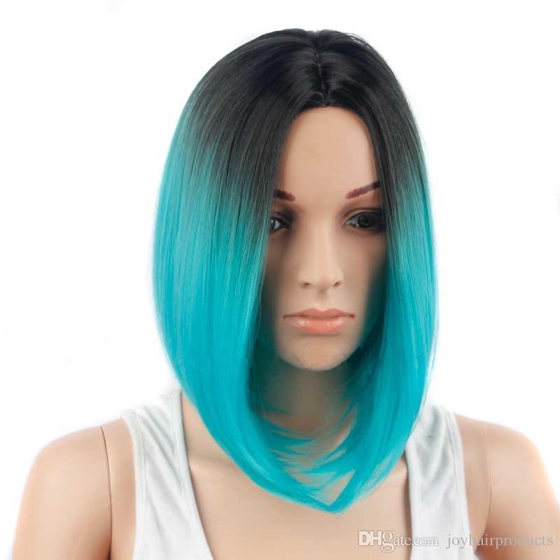 Frete grátis Ombre peruca loira perucas sintéticas para Mulheres Negras Ombre cabelo verde reta curta preço de fábrica perucas atacado