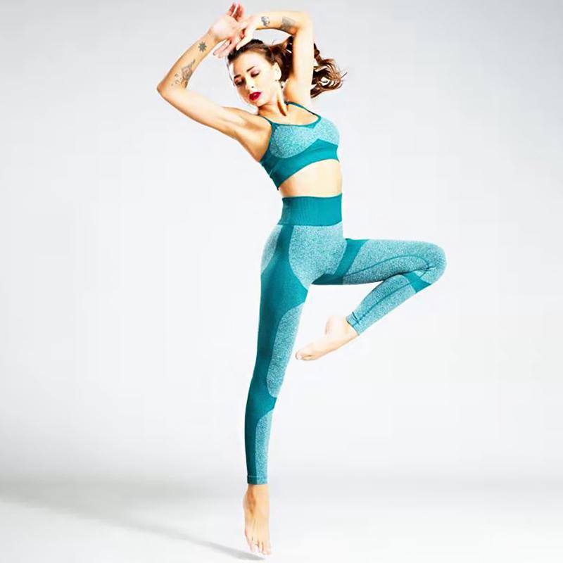 Kadınlar Spor Bra ve Tozluklar Seti Spor Egzersiz Giyim Gym için 2 adet Yoga Giysileri Seti Eşofman Spor Suit T200623 ayarlar