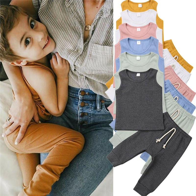 PUDCOCO Newest Newborn Baby Boys Girls Outfits Solid Vest Tops T-shirt +Long Pants Trousers 2PCS Cute Pin-striped Clothes Sets