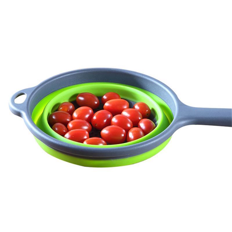 Pliant en silicone en plastique Passoire panier de vidange fruits légumes Lavage Passoire Pliable égouttoir avec poignée 1pc