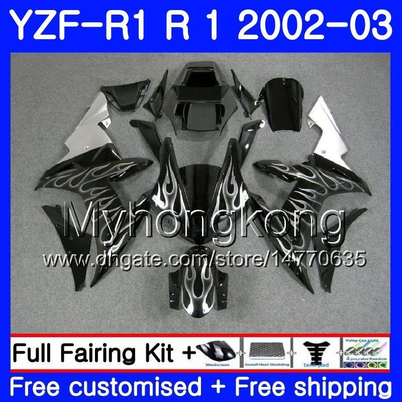 Bodys Para YAMAHA Plata llamas calientes YZF-1000 YZF R 1 YZF R1 2002 2003 Carrocería 237HM.32 YZF 1000 YZF-R1 02 YZF1000 Marco YZFR1 02 03 Carenado