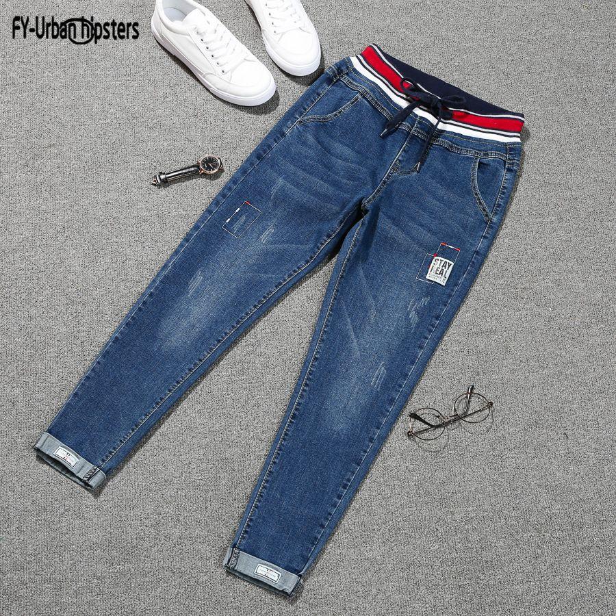 jeans stretch mujer 2019 más el tamaño encaje hasta los pantalones vaqueros de las mujeres de gran tamaño denim parche elástica lápiz manguito Harlan pantalones vaqueros de mujer femme CJ1911108