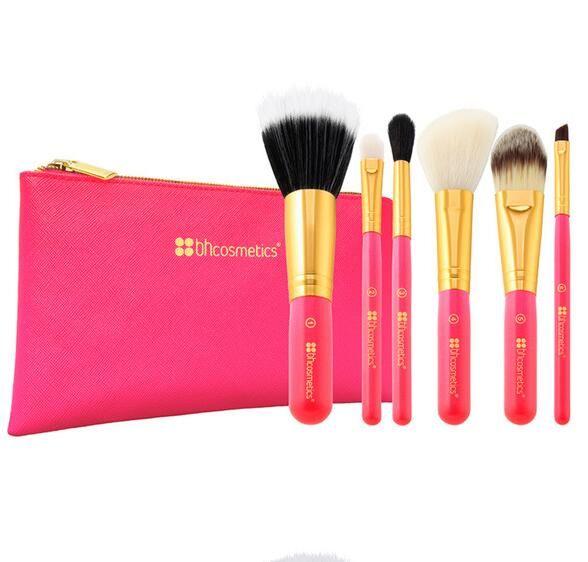 Cepillo del maquillaje 6pcs / set de sombra de ojos en polvo portátil Fundación Blush cepillos cosméticos con bolsa de maquillaje del kit de belleza
