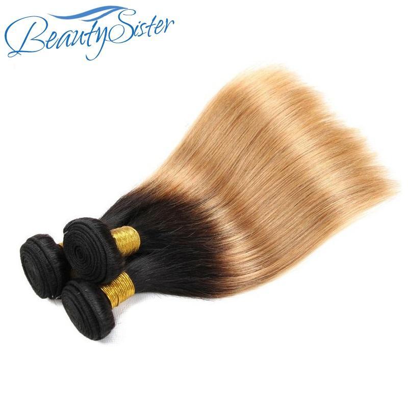 Chinese hair vendor best 10a brazilian silk straight ombre human hair bundles 3pcs 300g lot original virgin remy hair weaves color1b/27