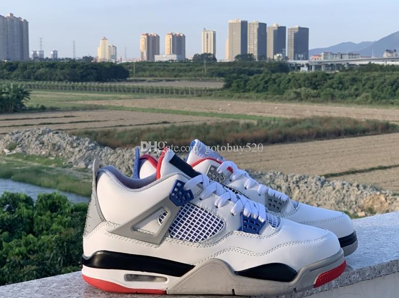 zapatos de la venta caliente 2019 nueva llegada 4s alta calidad leales azules lo que los altos zapatos superiores de los hombres al aire libre de tamaño de las zapatillas de deporte 7-13