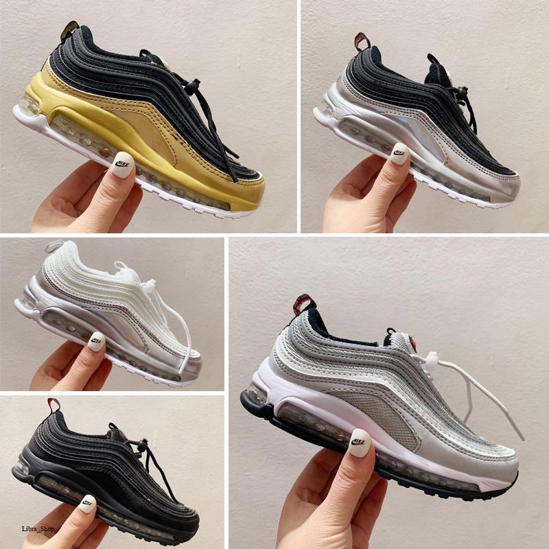 Nike air max 97 2020 Hava Yenilmez Koşu Ayakkabı Silver Bullet Mavi Siyah Çocuk Casual maxes Eğitmenler Çocuk Spor Spor ayakkabılar Chaussures
