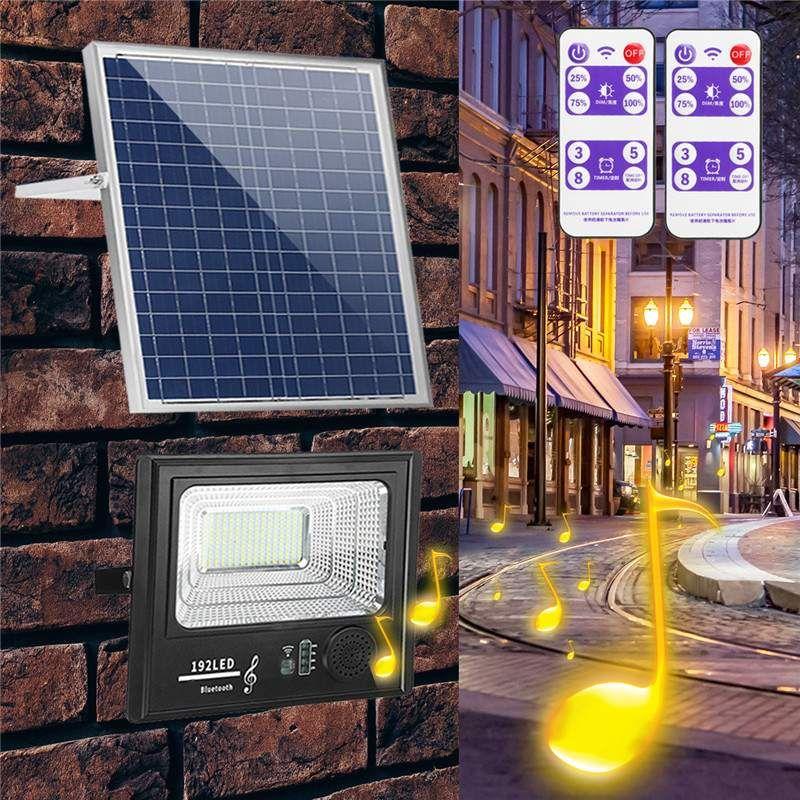 100W 200W 100//192LED Solar Flood Light Music bluetooth Outdoor Garden Wall Lamp