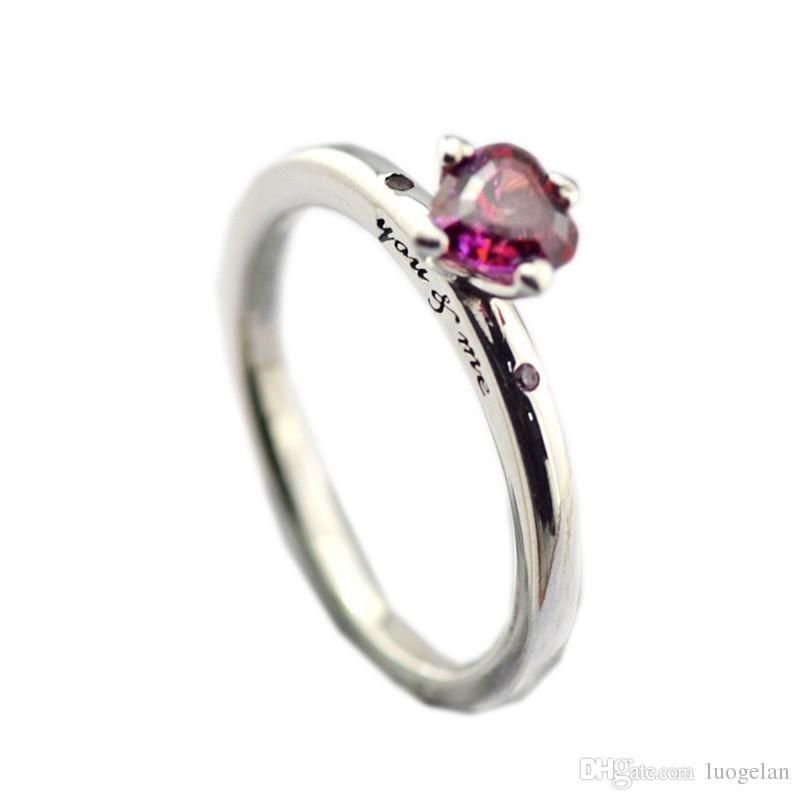 أصيلة 925 فضة باندورا الدائري أنت لي الدائري ، خاتم متعدد الألوان للنساء سحر الأزياء الأصلي مجوهرات النمط الأوروبي