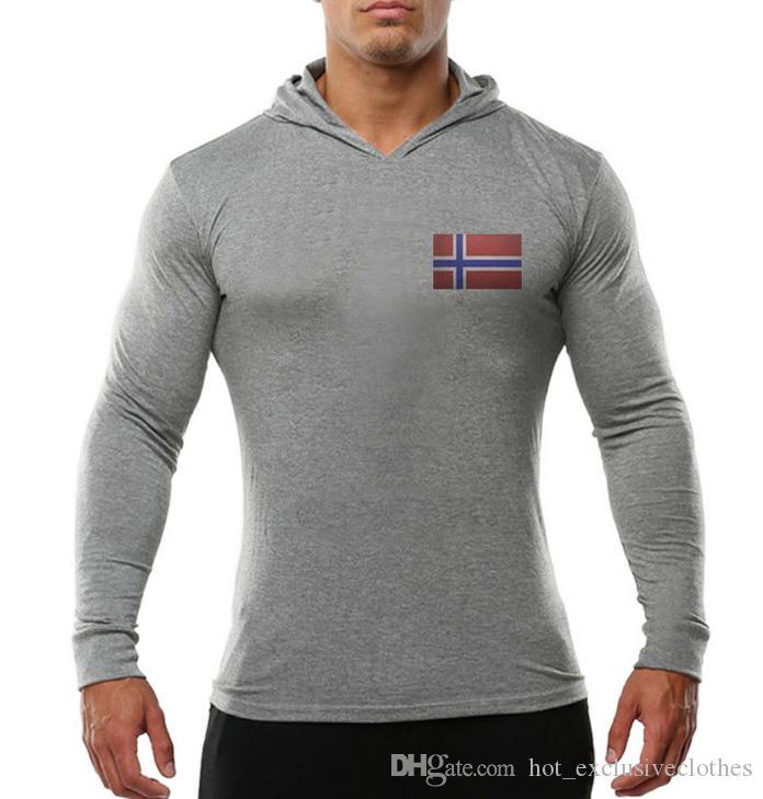 Трансграничные товары из чистого хлопка с длинным рукавом с защитной одеждой, напечатанной и отглаженной взрыв норвежского флага в Европе и спортивная толстовка с капюшоном Un