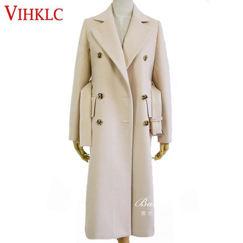 2017 Hiver Mode Femmes Lâche Nouveau Manteau À Manches Longues Taille Réglable Moyen Long Haute Qualité Épais Chaud Manteau De Laine H268