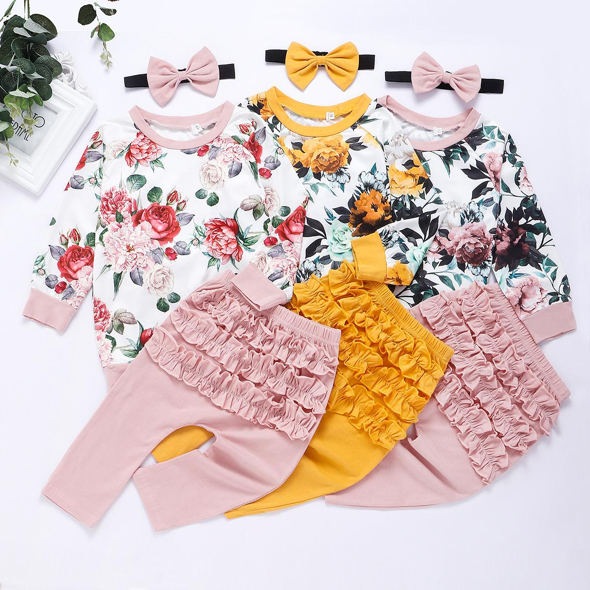 Cotton Newborn Baby Girl Clothes Infant Baby Girls Winter Clothe Outfits Flower Tops+Ruffle Pants Headband 3Pcs Clothing Set