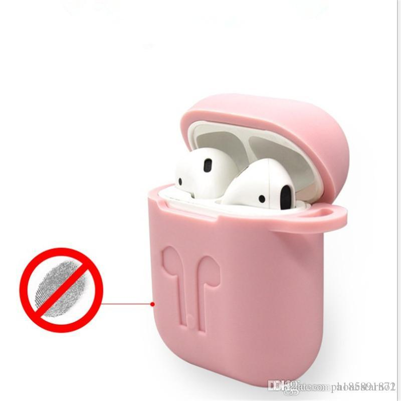 Airpods Accessory Slicone Protective Full cover case For Apple airpods Shockproof Cases Earphone package Wireless Earphones with ring buckle