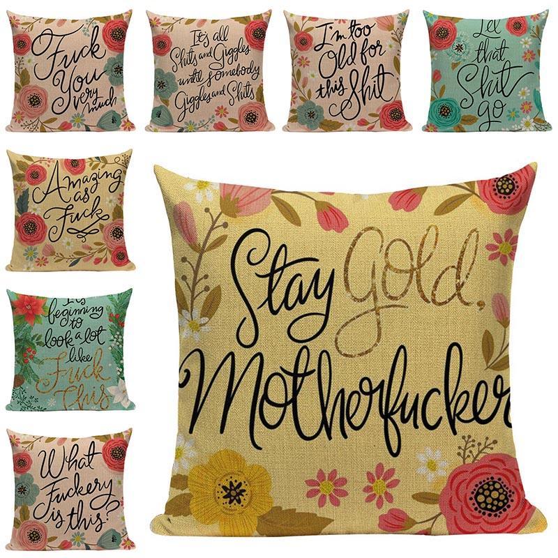 Flores y Letras Cojín Decoración almohada cubierta de sofá modelo romántico regalo de San Valentín funda de almohada cojines de los asientos