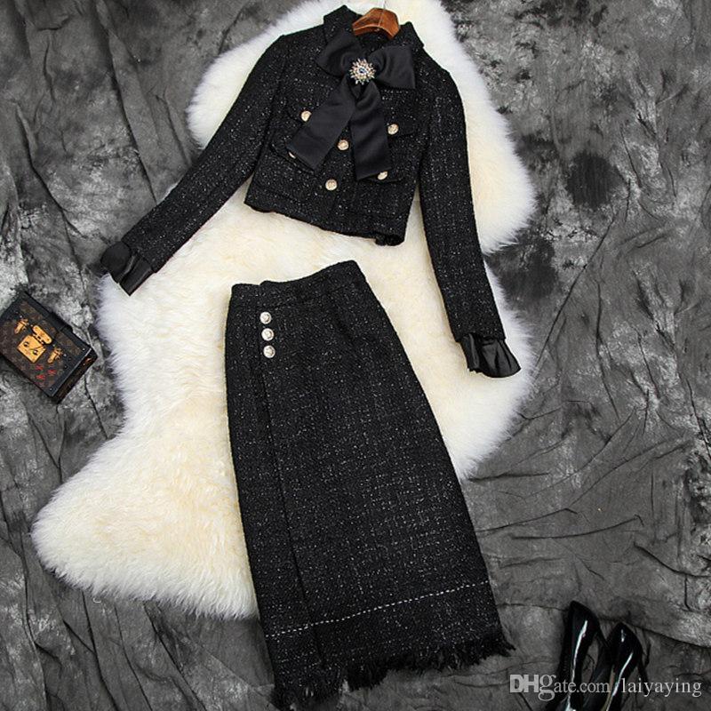 Autunno 2019 New European and American Wear Wear Manica Lunga con borchie Bow Coat Gonne Moda Alla moda Bright Seta Tweed Vestito