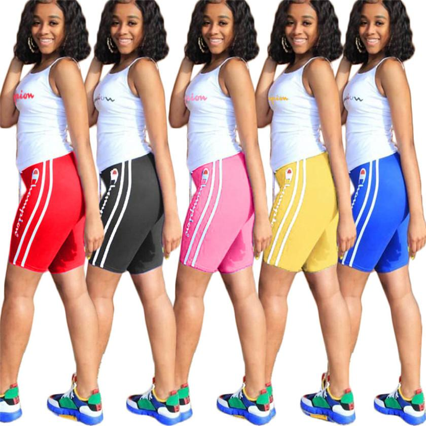 Champions Women plus size 3XL summer two piece set sleeveless outfits white tank top+shorts casual sportswear letter print sweatsuits 2572