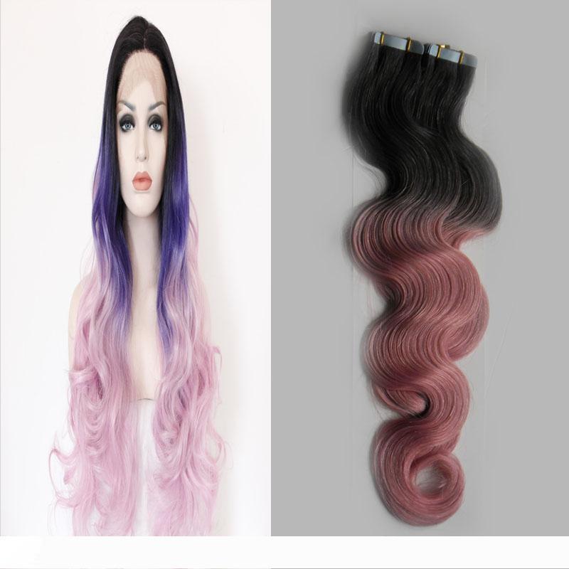 Grau rosa Ombre Haarverlängerungen des brasilianischen reinen Haares 40 Stück 100g brasilianische Körperwelle Haut Einschlagfäden Band in der Menschenhaarverlängerungen