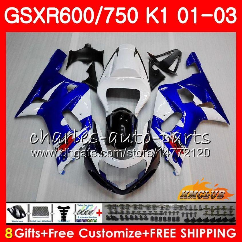 Auf blau hot 8Gifts Körper für SUZUKI GSXR 600 750 GSXR600 2001 2002 2003 4HC.3 GSX R750 GSXR600 GSXR750 K1 GSXR750 01 02 03 Verkleidungs-Kit