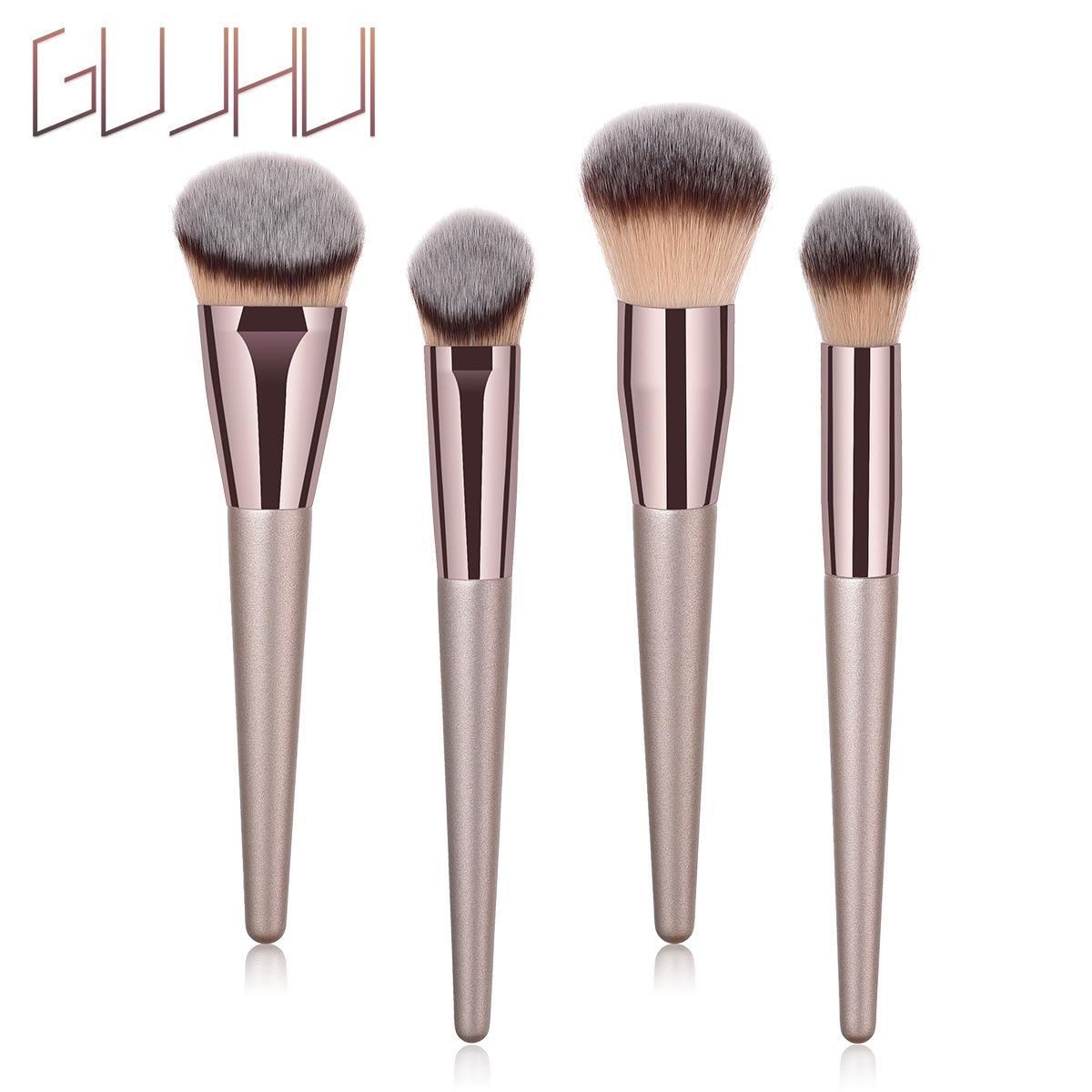 beauté chaud Marque 4pcs = bois 1set handlel ombre à paupières brosse de brosse de poudre de maquillage brosse eye-liner anticernes