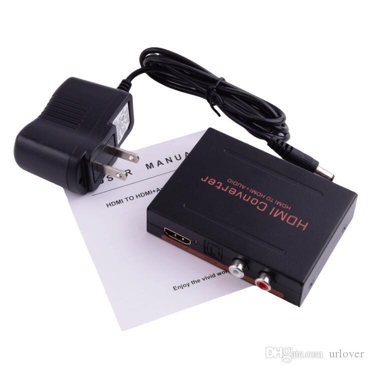 HDMI Audio Converter Splitter HD 1080P HDMI para HDMI Audio SPDIF + RCA L / R Extractor Splitter com adaptador de alimentação