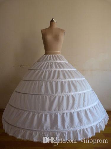Nuovo arrivo bianco 6-HOOP Petticoat abito da sposa da sposa crinolina sottoveste sottogonne gonna slittamento accessori da sposa 2019