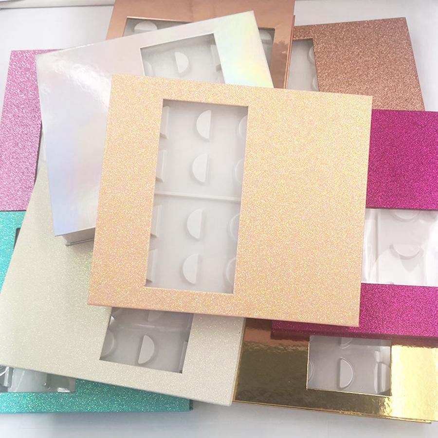 3D المنك الرموش الليزر حزمة صناديق الرموش الصناعية وميض العبوة الفارغة رمش حالة صندوق جلدة التغليف 10PAIRS مربع / مجموعة RRA2396