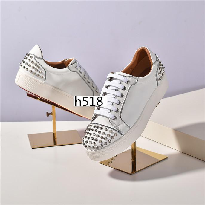 NUOVO SUPERIORE Spike Krystal Calzino Donna piatto 30 mm Altezza Bianco Neve Black Mat Versione Argento Loubi Sneakers1